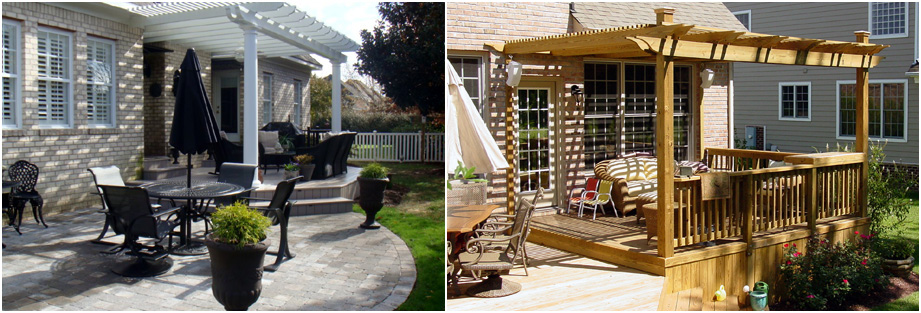Pergolas designed in natural wood and composites